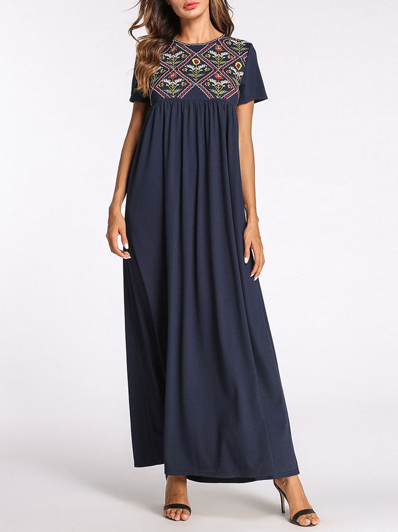 Navy Blue Plus size Embroidered Maxi Dress
