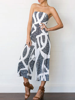 Solid Halter Strapless Geometric Jumpsuit
