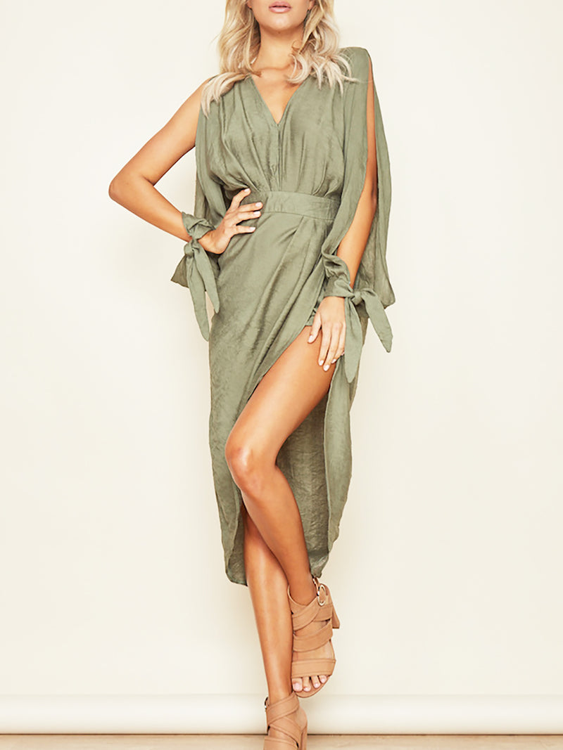 Green V Neck Party High Low Midi Dress