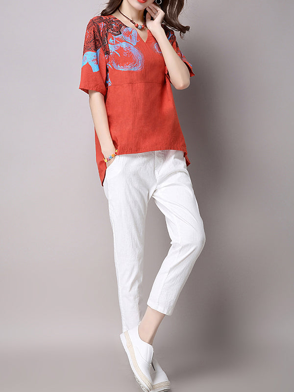 White Bow Solid Casual Crew Neck LINEN CLOTH