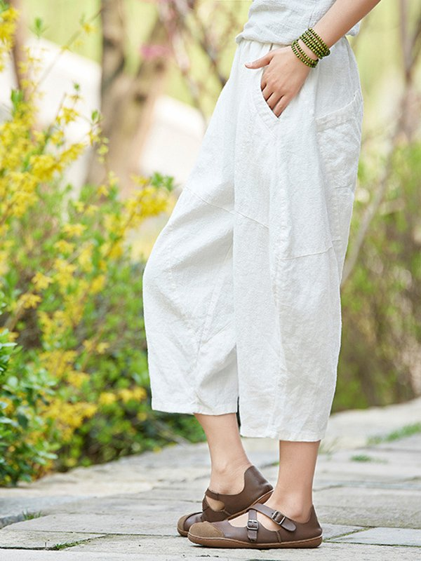 Daily Casual Linen Solid Pants