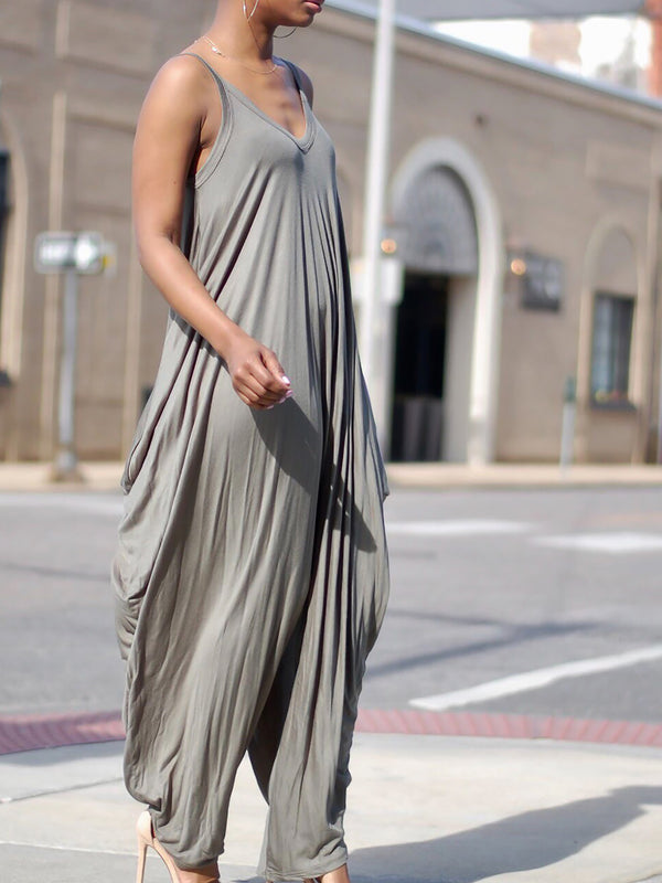 Spaghetti Draped Spaghetti Holiday Cotton-blend Jumpsuit