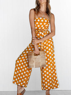 Holiday Polka Dots Spaghetti Printed Jumpsuit