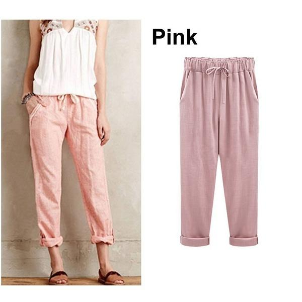 Women's Plus Size Cotton Ropped&Cropped Pants