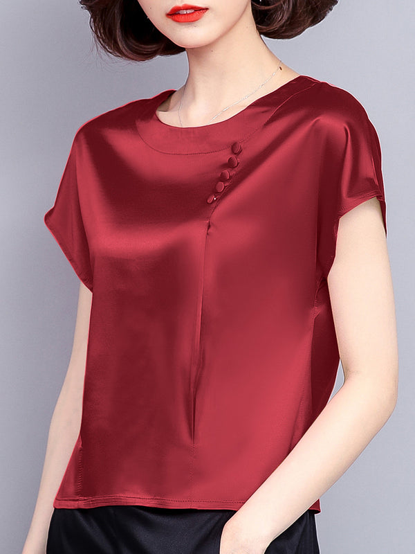 Red Short Sleeve Satin Crew Neck Plus Size Blouses & Shirt