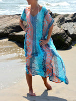 Resort Batwing Printed Crew Neck Plus Size Dress