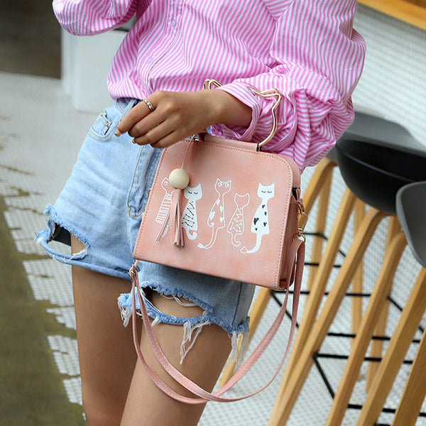 Fashion Accessories Animal Messenger Bag Women Handbags Cat Rabbit Pattern Shoulder Crossbody Bag