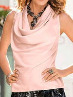 Pink Casual Solid Draped Crew Neck Tanks & Cami