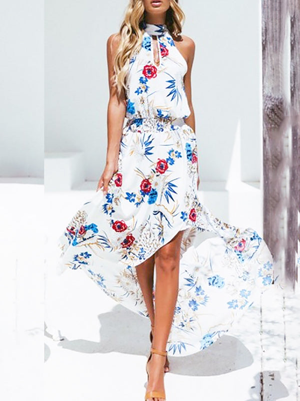 Sleeveless High Low Printed Holiday Cotton Midi Dress