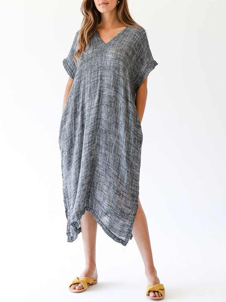 Short Sleeve Casual Solid Shift Linen Dress
