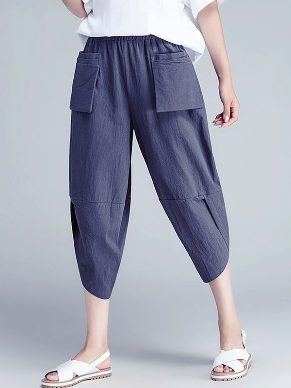 Cotton Pockets Casual Solid Pant