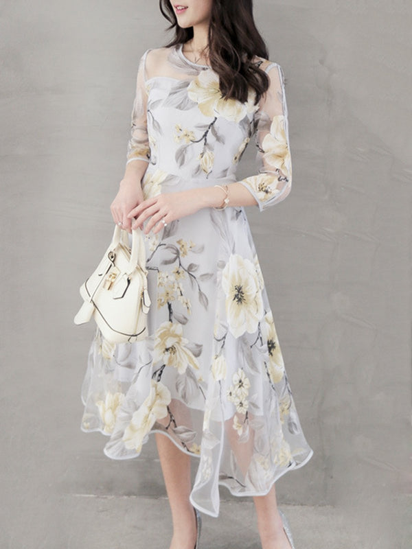 Organza Crew Neck 3/4 Sleeve Elegant Dress