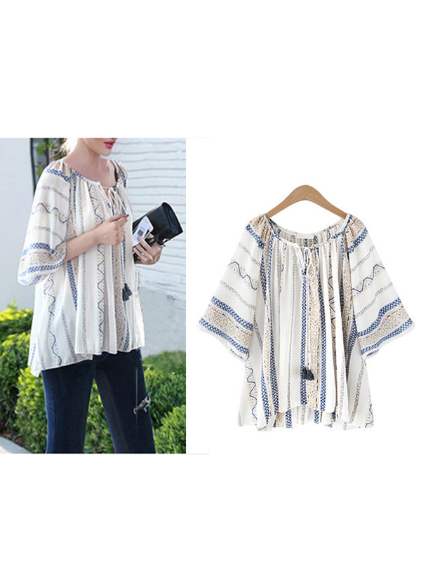 Plus Size Boho 3/4 Sleeve High Low Blouse