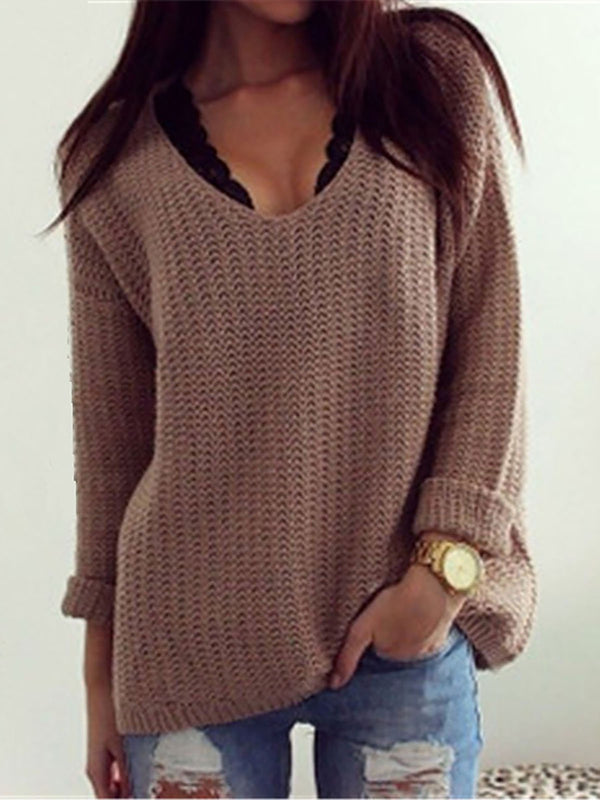 Eyelet Cotton-blend Solid Casual Sweater
