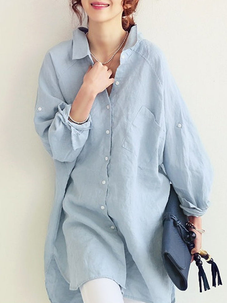 Solid Shirt Collar Cotton Casual Blouse