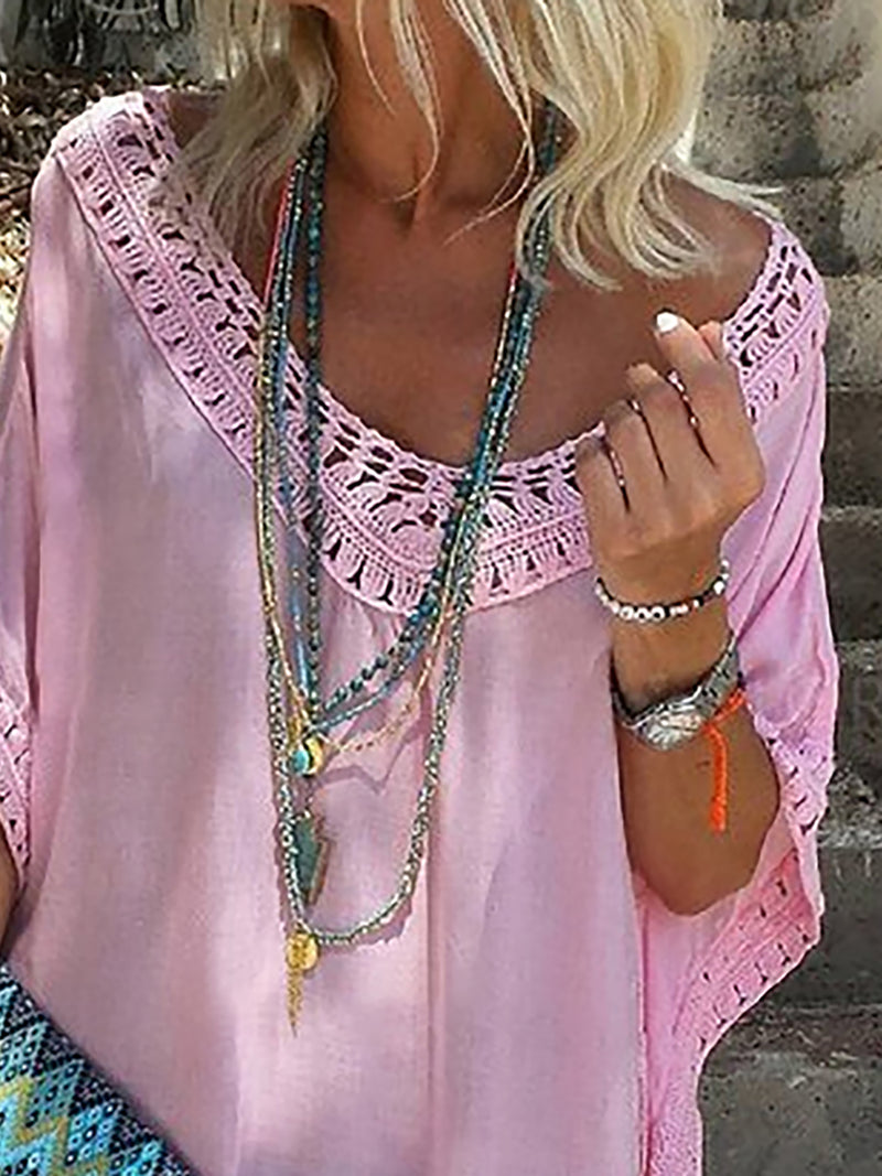 V Neck Paneled Boho Vacation Cotton Dress