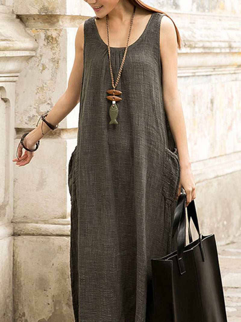 Solid Casual Cotton Pockets Sleeveless Dress