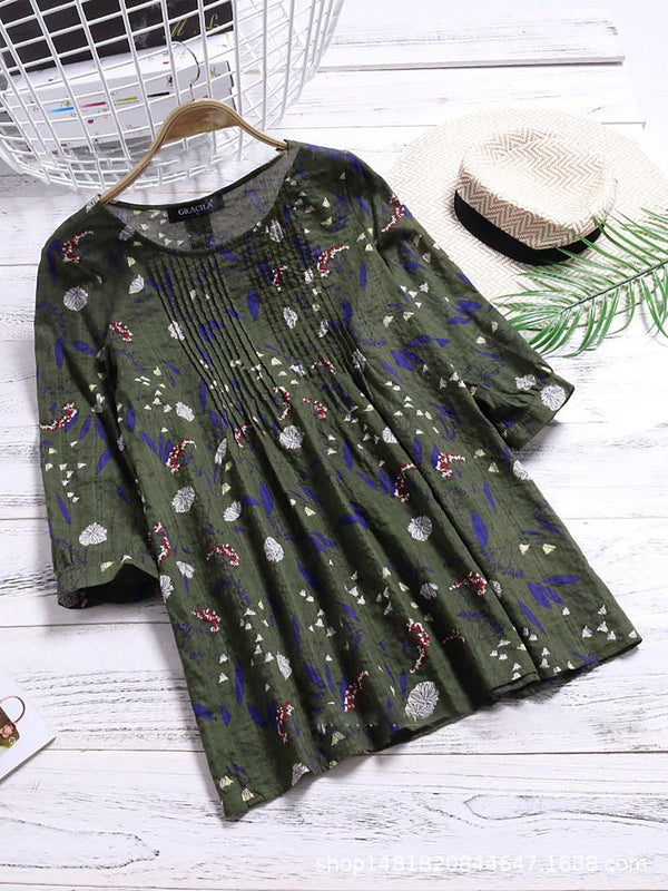 Green Printed Casual T-Shirt