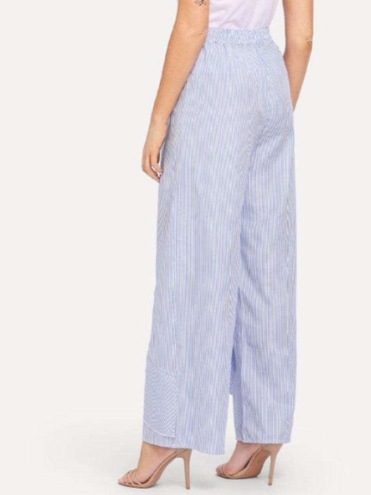 Black Casual Striped Polyester Ruffled Pants & Capri