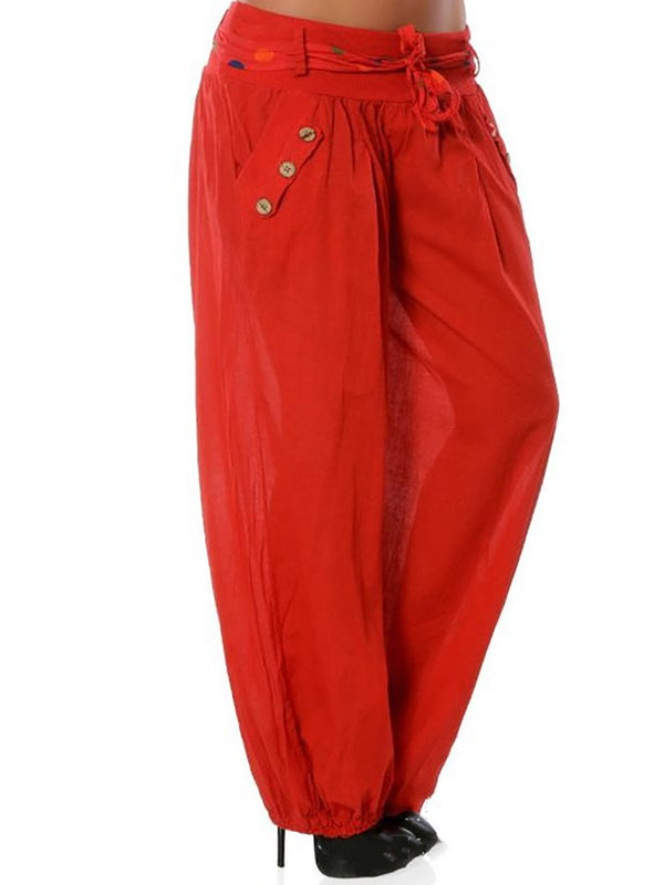 Casual Loose Style Trousers Cotton Plus Size Pants