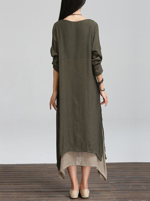 Long Sleeve Linen Cotton Crew Neck Casual Dress