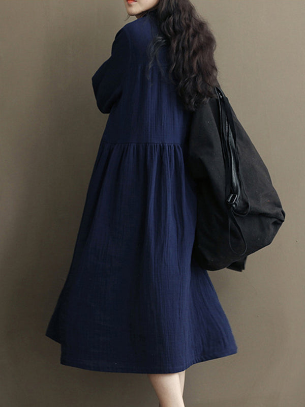 Blue A-line Long Sleeve Solid Casual Dress