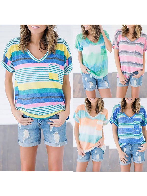 V Neck Color-block Cotton-blend Short Sleeve T-Shirt