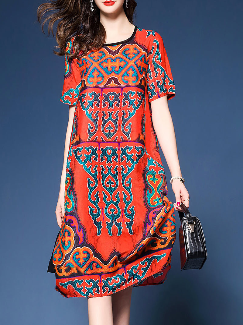 Multicolor Crew Neck Short Sleeve Printed Polyester Midi Dress