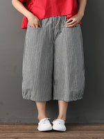 Black Gingham Linen Casual Pockets Pant