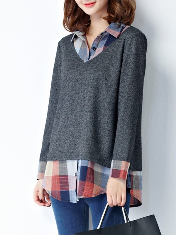 Plus Size One Piece Shirt Collar Long Sleeve Checkered/Plaid H-line Blouse