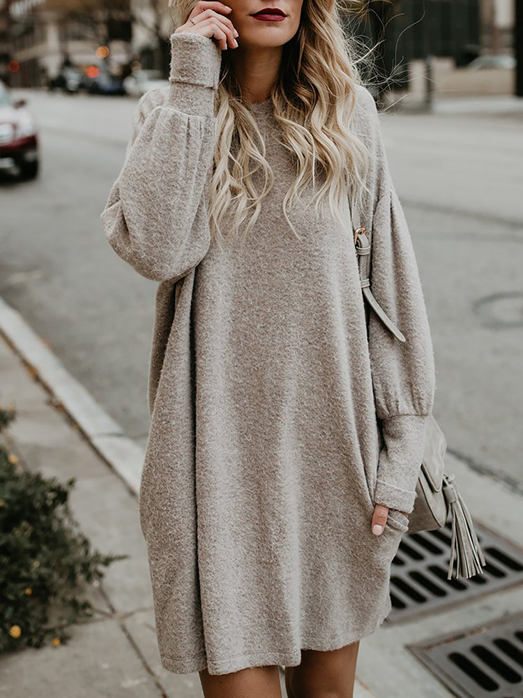 Apricot Solid Long Sleeve Crew Neck Sweater
