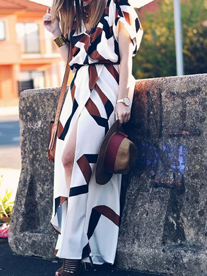 Short Sleeve V Neck Holiday Geometric Printed Maxi Dress