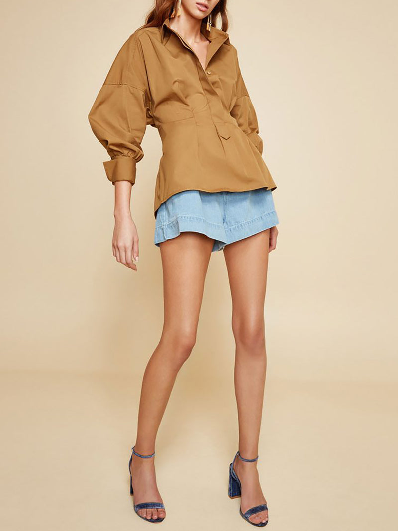 Khaki V Neck Polyester Solid Casual Blouse