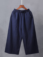 Casual Plus Size Linen Pockets Pants & Capri