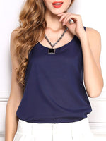 Solid Casual Crew Neck Chiffon Blouses & Shirt