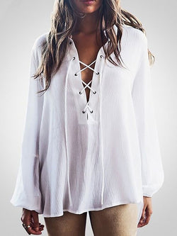 White Solid Long Sleeve Cotton Blouses & Shirt