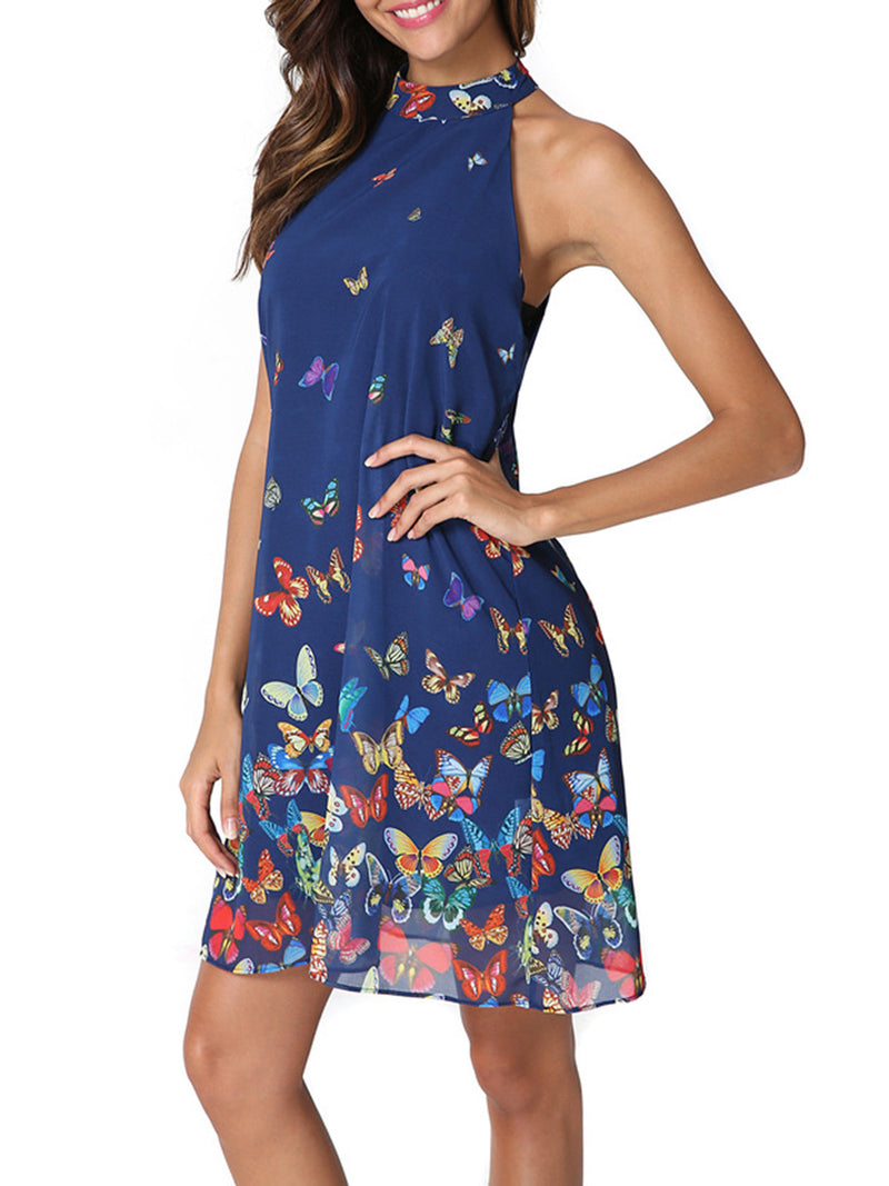 Blue Sleeveless Printed Chiffon Dress