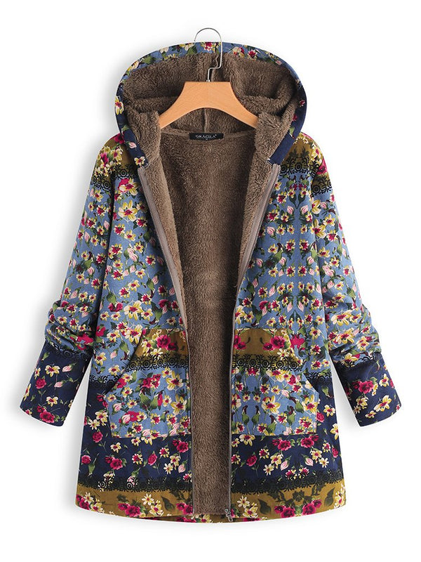 Patchwork Floral Print Zipper Hooded Long Sleeve Vintage Coats