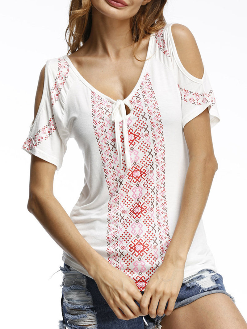 Cold Shoulder Casual V-Neck Floral-print Blouses & Shirt
