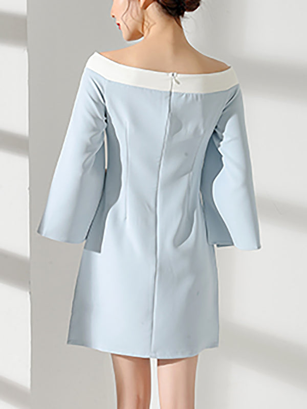 Slit Cocktail 3/4 Sleeve Polyester Mini Dress