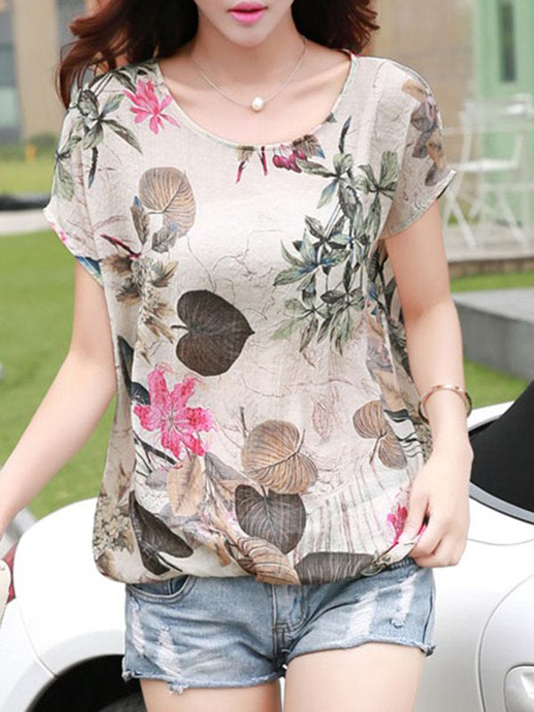 Multicolor Short Sleeve Floral H-line T-Shirt