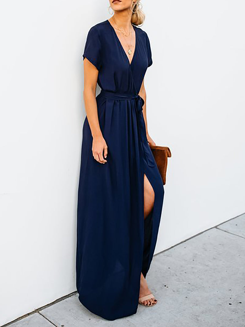 Short Sleeve Elegant Wrap Surplice Neck Maxi Dress