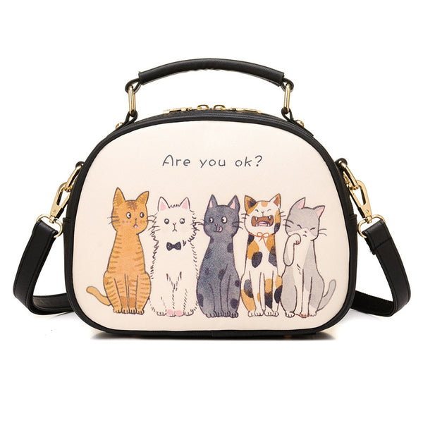 Womens Cat Printed Cute Casual Zipper Tote Bags Crossbody Bags