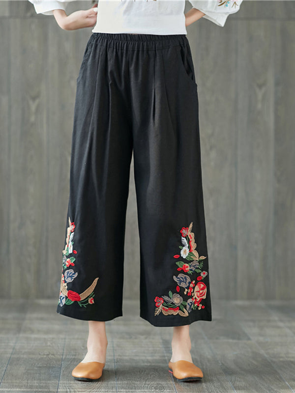 Linen Floral-embroidered Vintage Plus Size Wide Leg Pants