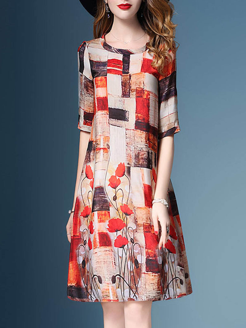 Red Printed Polyester Half Sleeve Floral Dress