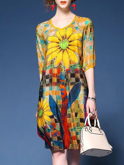 A-line Half Sleeve Floral Binding Casual Dress