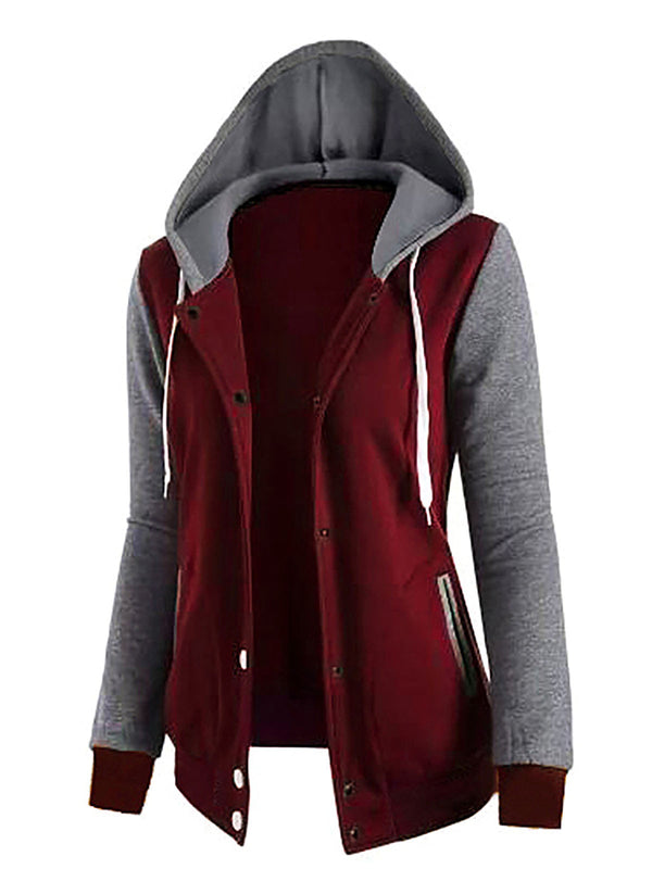 Solid Hoodie Casual Bomber Jacket