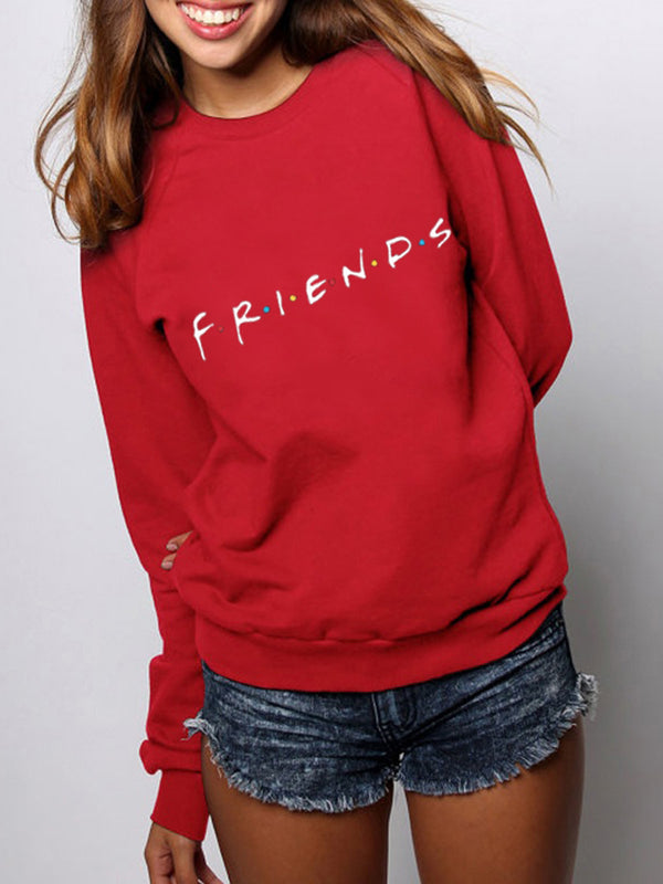 Letter Printed Casual Crew Neck Long Sleeve Hoodie