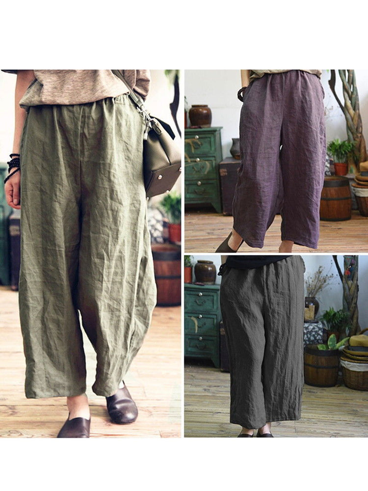 Casual Pockets Linen Plus Size Pants
