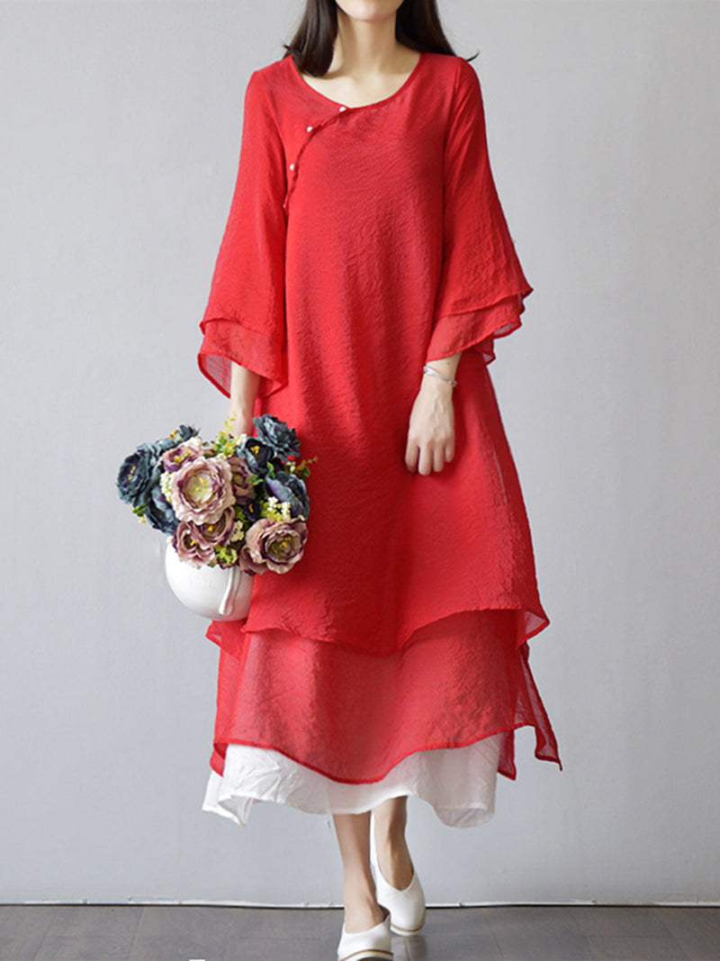 Tiered 3/4 Sleeve Paneled A-line Casual Dress